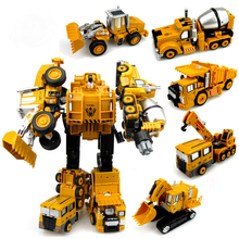 Transformation Engineering Car Toy 2 in 1 Alloy Machine Model Toys Robots Excavator Construction Vehicle Truck Assembly Robot(China)