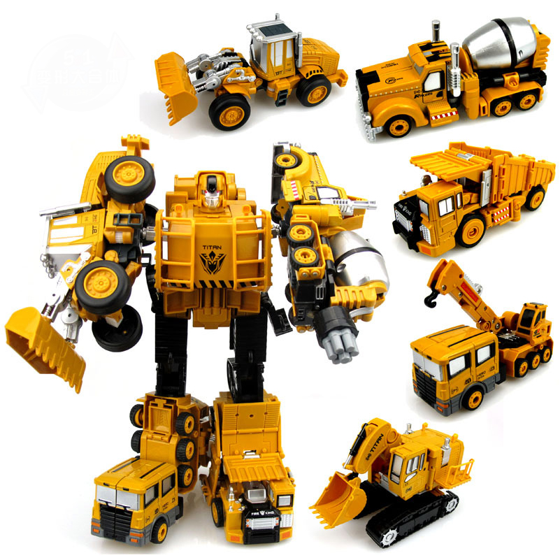 Transformation Engineering Car Toy 2 in 1 Alloy Machine Model Toys Robots Excavator Construction Vehicle Truck Assembly Robot(China (Mainland))