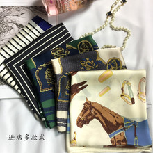 KL1084 Small women square scarf 70cm female professional decorative satin print plaid horse kerchief(China)
