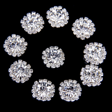 Sewing Accessories Phenovo 10pcs 15mm Crystal Rhinestone Button Flatback DIY Craft Clear Fit Sewing Scrapbooking Decor Supplies