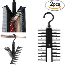 2pcs Novelty Rotatable 20 Row Multifunction Tie Rack Belt Rack Neckties Hanging Neckties Rack Convenient Indoor Hanger Holder(China)