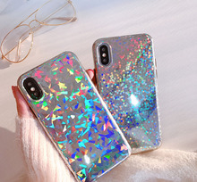 Hepu Simple girl laser glitter for apple iphone X / 8 mobile phone shell network red iphone7plus all-inclusive 6s soft silicone(China)