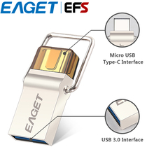 100% Original EAGET CU10 USB 3.0 Type-C Pendrive Micro USB OTG 16GB 32GB 64GB Metal Flash Drive USB Stick Memory Portable USB(China)