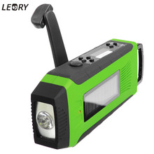 LEORY Solar Power Hand Crank Self Powered AM/FM/WB Radio LED Flashlight FM Radio Camping Emergency Survival Charger Power Bank