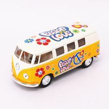 1:32 Kinsmart Volkswagen Bus Toy Alloy & ABS Van Car Graffiti Version Model Mini Van With Painting Boy Cars Kids Toys Brinquedos