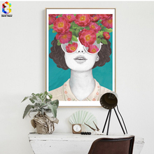 ZeroC Nordic Posters And Prints Flower Girl Portrait Wall Art Canvas Painting Pictures For Living Room Scandinavian Home Decor(China)