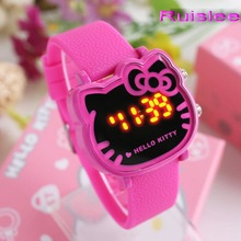Top Quality 7 Colors Cute Hello Kitty Watch For Kids Women Fashion Casual Led Wristwatch Children Watch Clock Relogio(China)