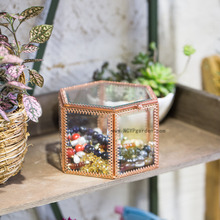 NCYP Vintage Faceted Hexagonal Prisms Mirrored Brass Glass Box Jewelry Display with Hinged Top Lid Terrarium Case