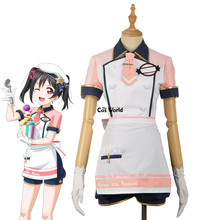 Love Live School Idol Project Yazawa Nico Ice Cream Cafe Maid Apron Dress Tops Shorts Outfit Anime Cosplay Costumes(China)