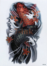Waterproof Temporary Tattoo Chinese traditional tattoos carp fish totem water Transfer Fake Tattoo Flash tatto for women men