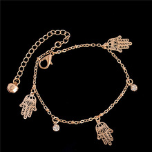SHUANGR 2016 trendy hamsa Anklet bracelet on the leg for women fashion gold chian on foot girl Beach ankle Bracelets jewelry