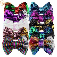 "Cheerbows 2018 Sole Mermaid Changable Double-Side 5"" Glitter Sequin Bows Girl DIY Hair Accessories For Kids Party Hair Clip(China)"