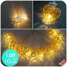 10leds Heart Star Moon shape Iron String Light Decoration Party DIY Home Decor AA battery Kids Room Decoration Patio Lantern
