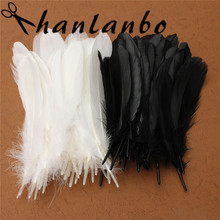 50pcs/lot Natural Large Black White Goose Feather 15-25cm For Craft Hats Embellishments Floral Arrangement Material Accessories(China)