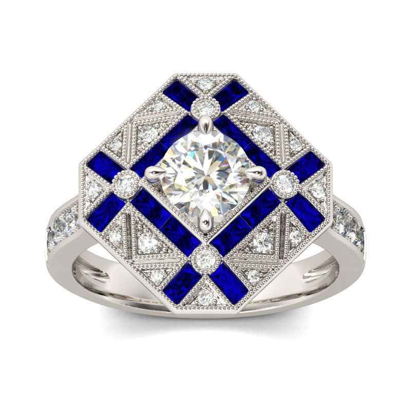Spark square 1ct Genuine Sky Blue Created Blue CZ stone Cluster Halo Rings  925 Sterling Silver 6419b7a1320f