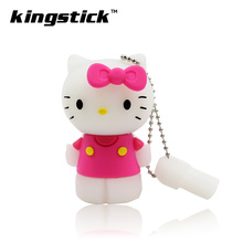 Lovely pink USB Flash Drive hello kitty 8GB 16GB 32GB 4GB Pendrive Stick USB 2.0 Pen Drive Memory Flash udisk(China)