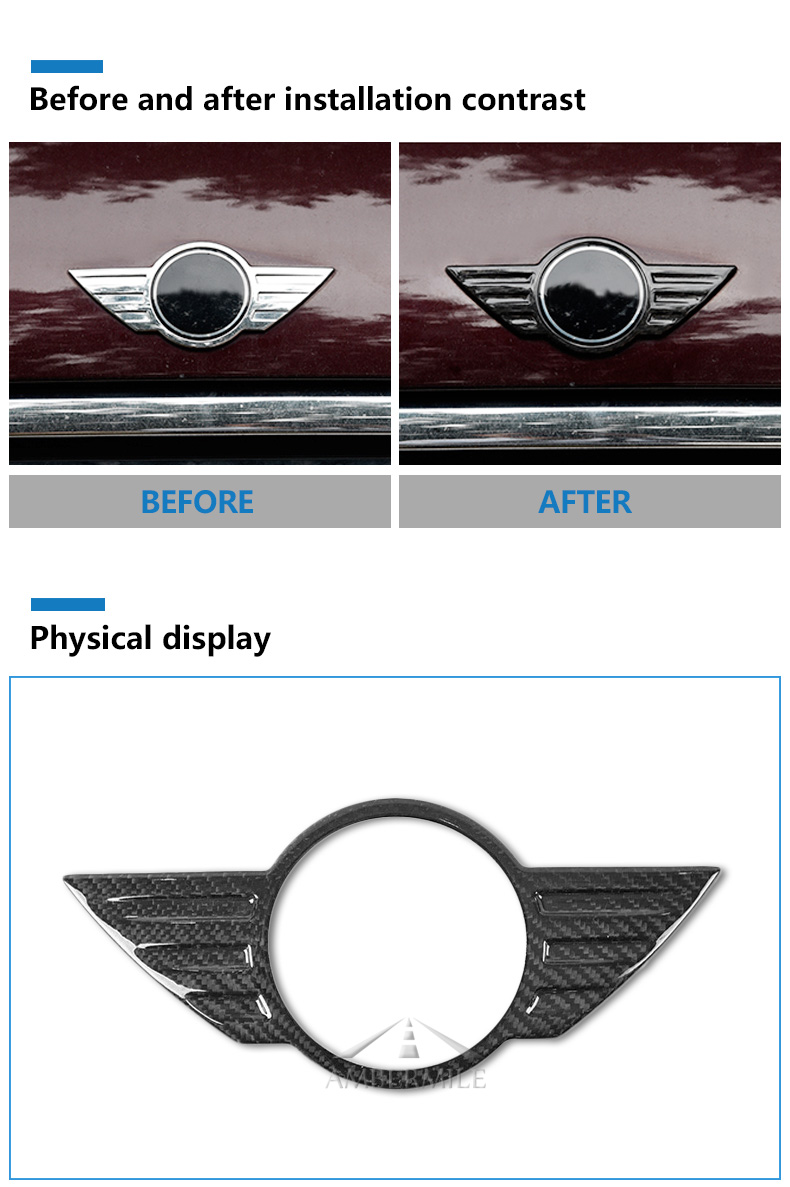 Carbon Fiber Car Logo Front Hood Badge Rear Trunk Emblem for Mini Cooper F54 F55 F56 F60 R60 R61 R55 R56 Countryman (3)