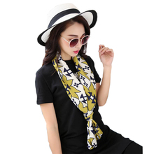 Summer long narrow bag strip small towels tie yellow flower scarf women fashion ladies scarves printing female silk scarves