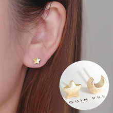 Shuangshuo 2017 New Korean Fashion Wave of Female Cute Small Stars and Moon Sutd Earrings Special Unique Earrings(China)