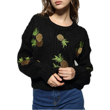 New European Pineapple Embroidery Sweater Fashion Flat Knitted Pullovers High Quality Women Tops Sweater Lj8277
