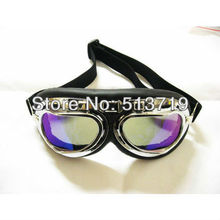 Free shipping 1x MOTORCYCLE GOGGLES TINTE STEAMPUNK HALF HELMET FLIGHT AVIATOR EYEWEAR GLASSES(China)
