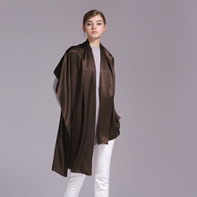 100% Silk Satin Long Scarf 55X180cm Pure Mulberry Silk Plain Color Silk Scarf Factory Direct Online Store 41 Dark Brown Color(China)