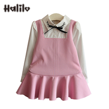 Halilo Girls Fall Dress Long Sleeve Autumn Girls Dresses Patchwork Princess Kids Christmas Dress Fashion Children Clothing 2017