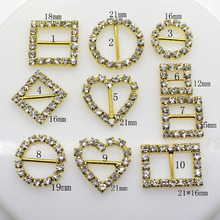 10pcs Heart Buttons Crystal Rhinestone Buckle Invitation Ribbon Slider For Wedding GOLD Color,Free shipping