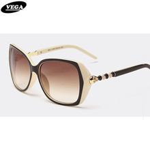 VEGA Top Rated Novelty Ladies Sunglasses Polarized Funky Wraparound Sunglasses With Skulls Stunner Shades with Pouch 9541(China)