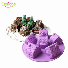 Delidge 1 pc Small House Cake Mold Silicone Christmas 6 House Chiffon Cake Mold DIY Fondant Different Shape House Baking Mould(China)