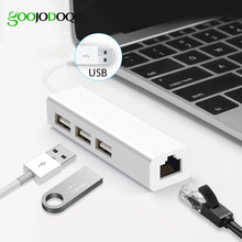 USB Ethernet с 3 Порты и разъёмы USB HUB 2,0 RJ45 Lan сетевой карты USB для Ethernet-адаптер для Mac iOS Android PC RTL8152 концентратор USB 2,0(China)