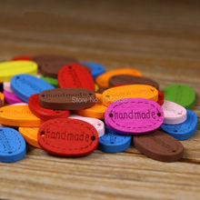 "Cheap Free Shipping 100 Pcs/lot Random Mixed 2 Holes""handmade"" Wood Sewing Buttons Scrapbooking18x11mm Multicolor DIY Accessory"