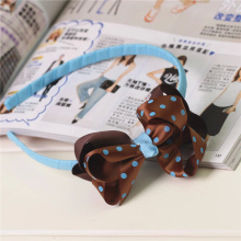 korean boutique big polka dot brown kids children baby girls grosgrain ribbon hair clasp bows satin headband hairband accesories