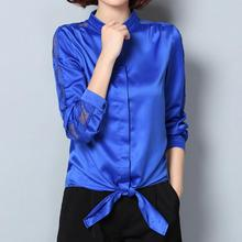 Women Autumn Fashion Satin Blouse Stand Collar Hollow out Lace Long Sleeve Bowknot Lap Plus Size Elegant Blouse Free Shipping