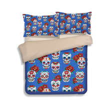 3D Suger Skull Print Bedding Sets for Boys Kids Halloween Nightmare Twin Full King Queen Size Comfoter Cover Blue 3/4pc Bedlinen