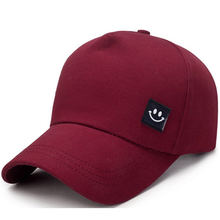 New Style 5 Panel 100% Cotton Dad Hat Smiley Face Men s Baseball Cap Women  Sun Hat Wine Red Navy Gray 82e28043a798
