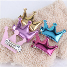 New Design Crown Hair Clip Kids Star Headdress PU Leather Baby Lovely Heart Head Barrettes Princess Accessories Child Hairpins