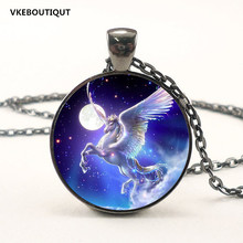 Unicorn Necklace 3Color Unicorn Pendant Art Photo Unicorn Jewelry Glass Cabochon Fairy Tale Pendant Fantasy Jewelry(China)