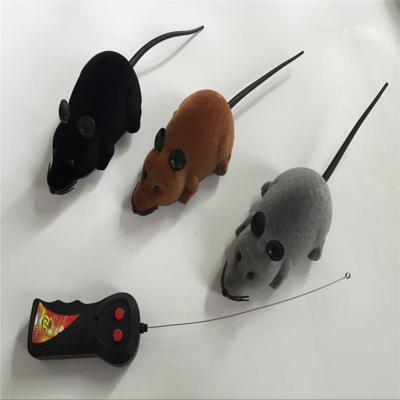 2017 New 8 Colors Cat Toys Remote Control Wireless Simulation Plush Mouse RC Electronic Rat Mouse Mice Toy For Pet Cat Toy Mouse(China)
