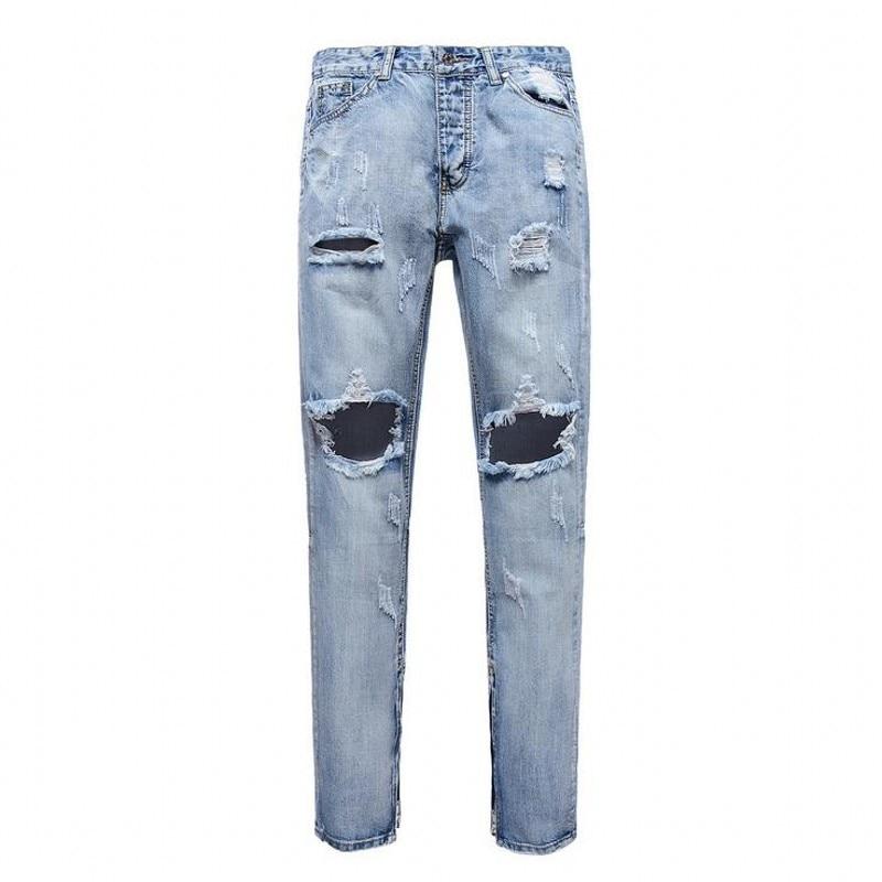 Ripped Jeans Male Kanye West Justin Bieber La Peur De Dieu Marque Jeans Grinding Hole Tear Style Side Zipper Mode Hommes JeansÎäåæäà è àêñåññóàðû<br><br>
