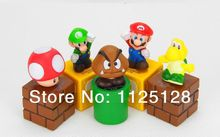 Free Shipping 5pcs/set Nintendo Video Game Mario Bro Action Figure Toys Nice Gift for kids children(China)