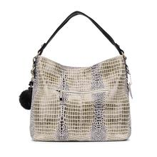 bags brand genuine leather crocodile bags for women shoulder bag large tote bag with a fur ball, ladies black hobo handbags