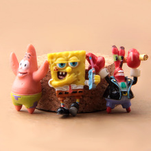 1pcs Action Figure random Sponge Bob Patrick Star Armor Abs Krabs DIY 3-3.5cm PVC cartoon decoration Doll Model Anime