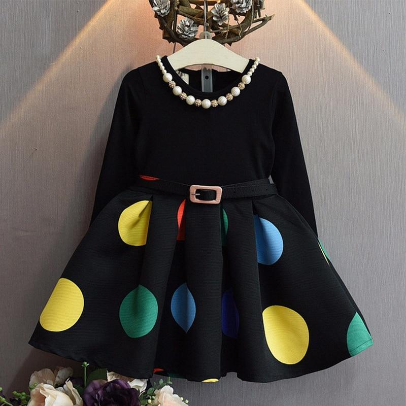 2016 kids princess dresses round neck long sleeves Floral Swing Summer autumn Dresses Elegant frozen christmas dress<br><br>Aliexpress