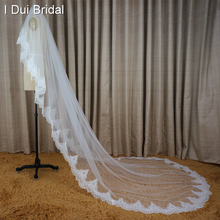 Alencon Eyelash Lace Long Bridal Veil Wedding Hair Accessory Three Meter Hair Cover 2017 New Style Real Photo