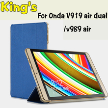 Ultra thin pu cover case for Onda v919 air ch/V919 3G Air dual boot ,For onda v989 air octa core 9.7inch case new version(China)