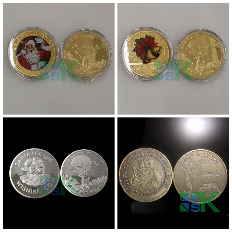 4pcs/lot Sample Order New year Bells Bring Wishes 24K Gold Clad Lucky Gift X'mas Coins Santa Claus Merry Christmas Gold Coins(China (Mainland))