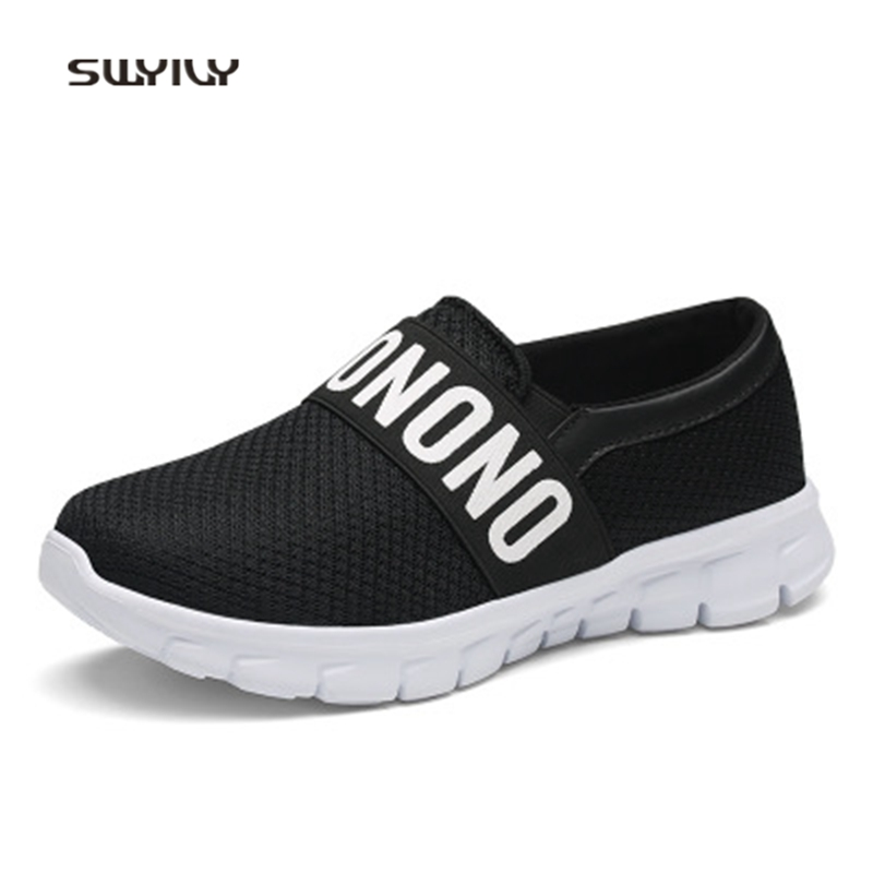 SWYIVY Moman Running Shoes Mesh Breathable Ultra-light Flat Heel 2018 Summer Soft Slip-on Female Sport Shoes Lazy Sneakers