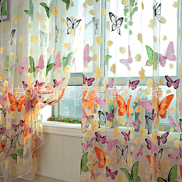 Curtain Tulle Voile Sheer-Panel Door Balcony Window Hot-Screen Butterfly Printed title=