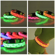 Pets Dogs Night Safety Anchor Pattern Collar Light Night Up Nylon LED Adjustable Collars S M L 6 color Wholesale